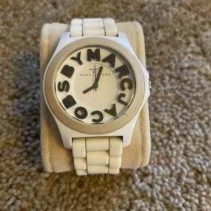 Marc Marc Jacobs White Rubber Graphic Sloan Watch